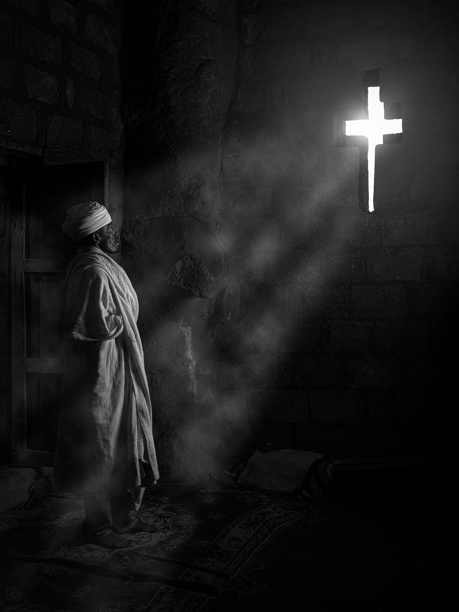 Black and white photograph, portrait, man, church, ethiopia