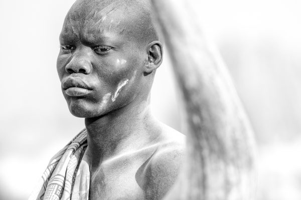 Black and white photograph, portrait, man, Khartoum, South Sudan.