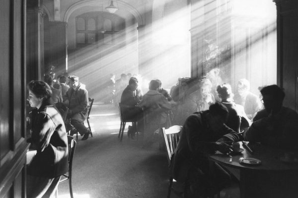 black and white film photograph of Edinburgh University, Scotland, 1961 by Robert Blomfield