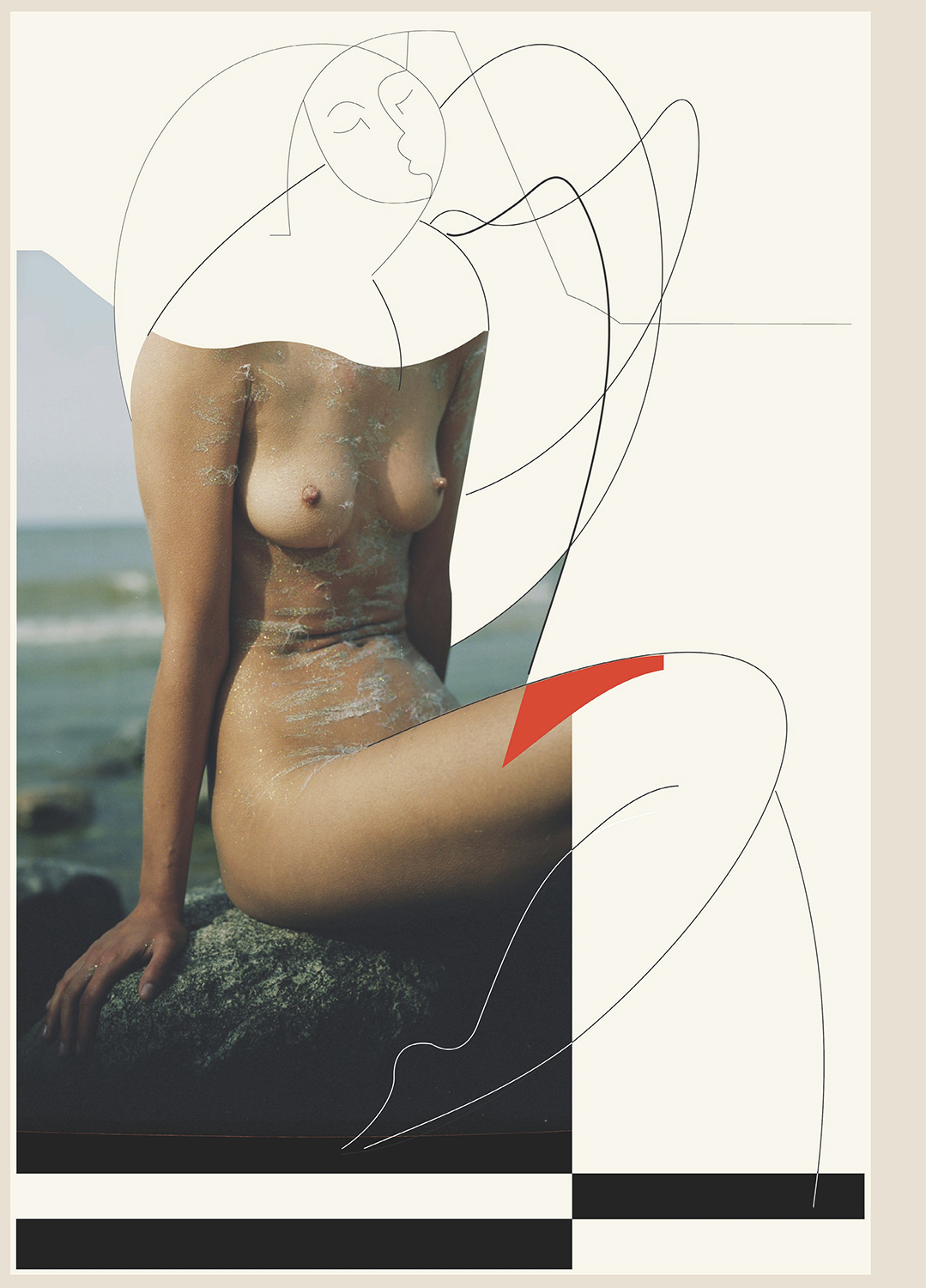 Open Call - Conceptual photograph and graphic drawing of a woman by artist Stefan Milev