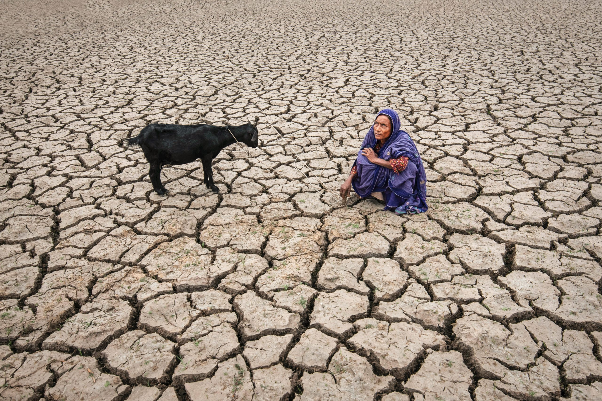 Color photograph of a woman on eroded land in Bangladesh- Visual Storytelling Award