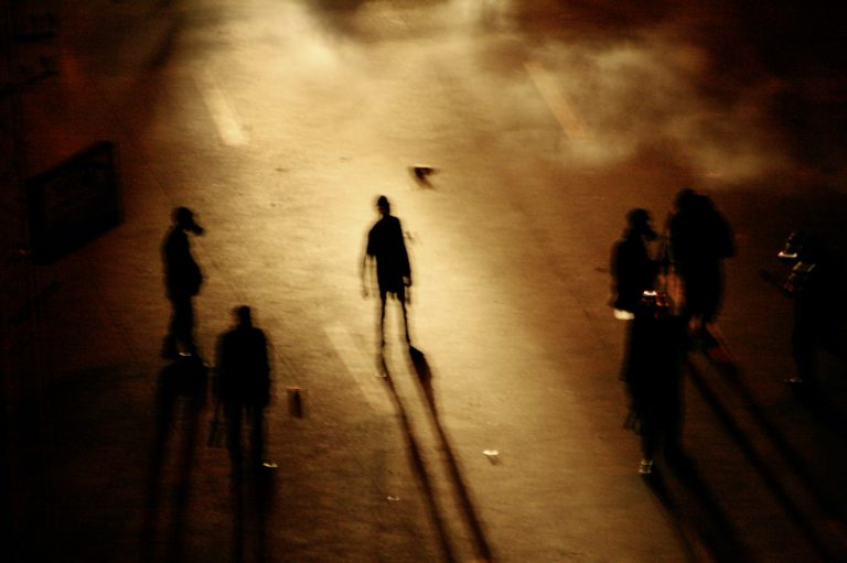 Color photo by Laura El-Tantawy from IN THE SHADOW OF THE PYRAMIDS. Police on the streets. Heliopolis, Cairo, Egypt, Revolution