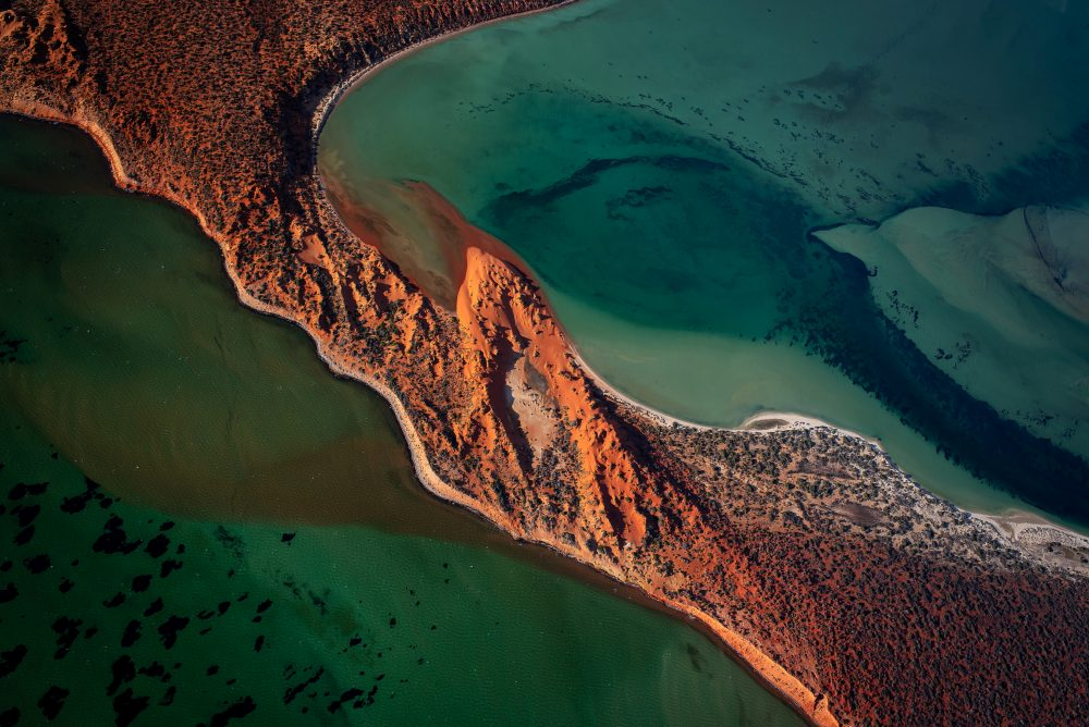 Fotografía aérea de paisaje en color de Shark Bay, Australia Occidental por Ross long