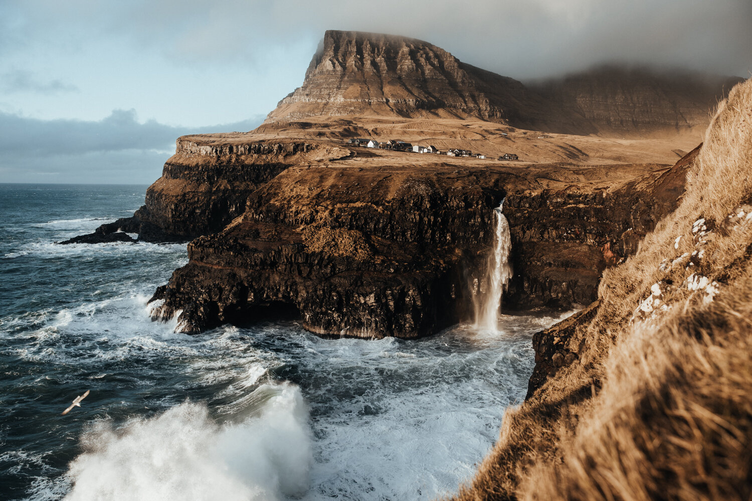 Hannes Becker landscape photo. Coastal waterfall, Gasadalur, Faroe Islands.