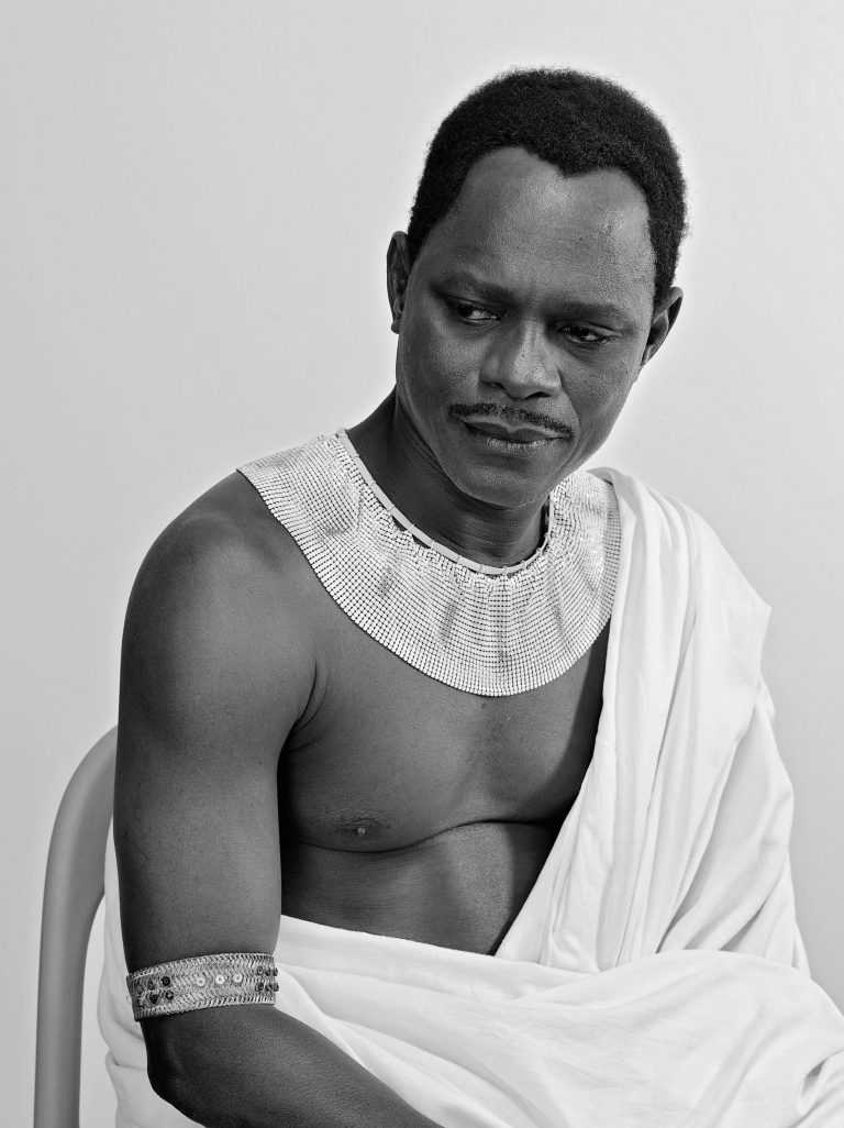 Black and white self portrait by Samuel Fosso, from the series African Spirits