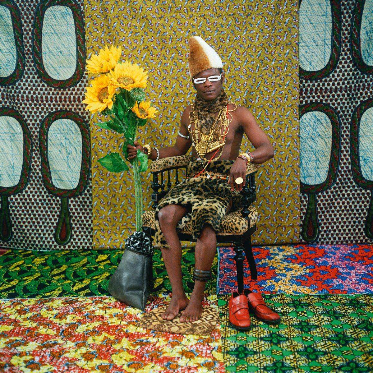 Color photo by Samuel Fosso, self portrait as 'African chief'. From the series Tati, 1997