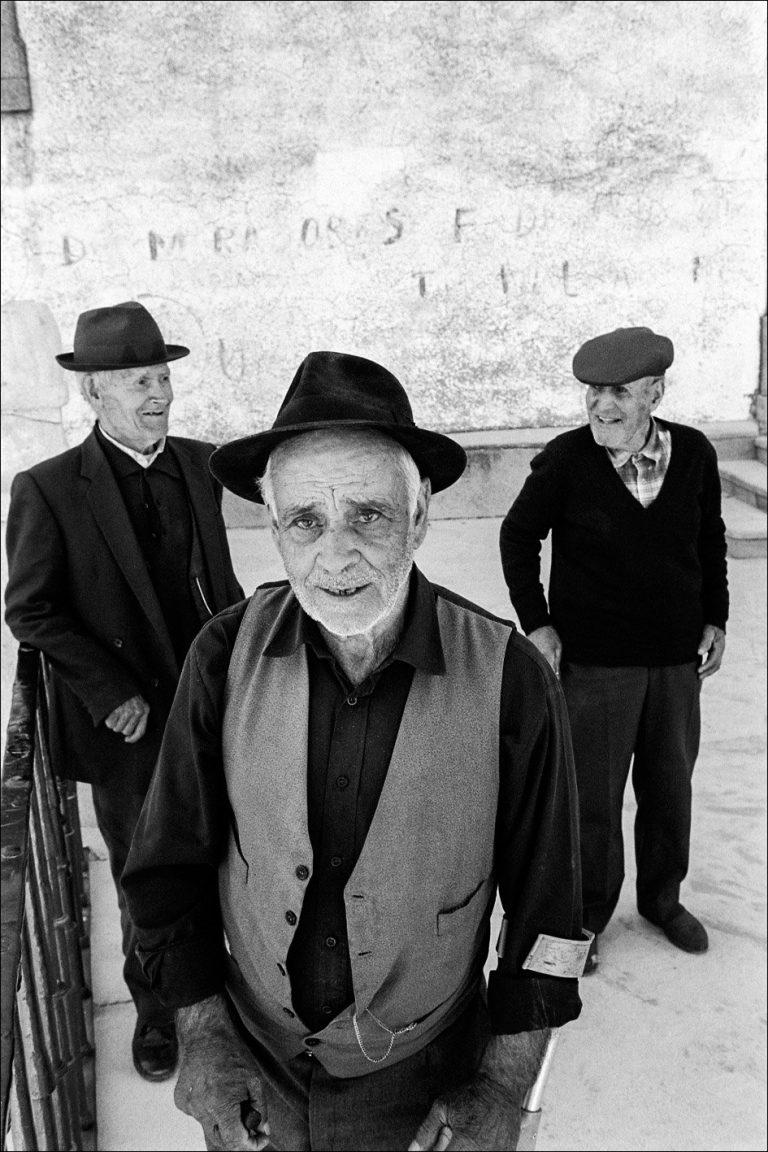 Black and white photo by Xavier Roy, three elderly men, Alentejo, Portugal 2002