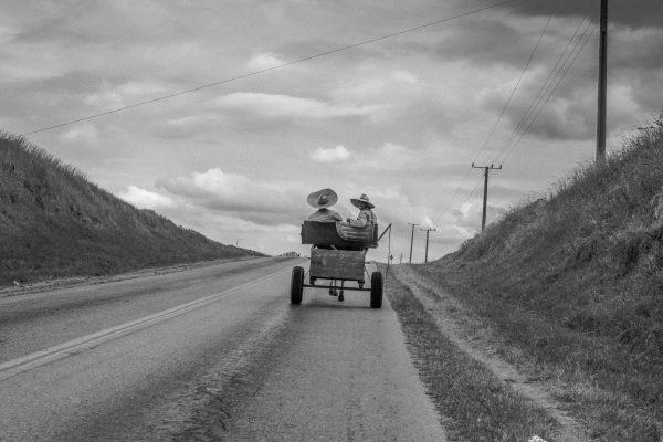 黑白照片由Xavier Roy拍摄,两名老人戴着草帽帽子骑着马车,古巴