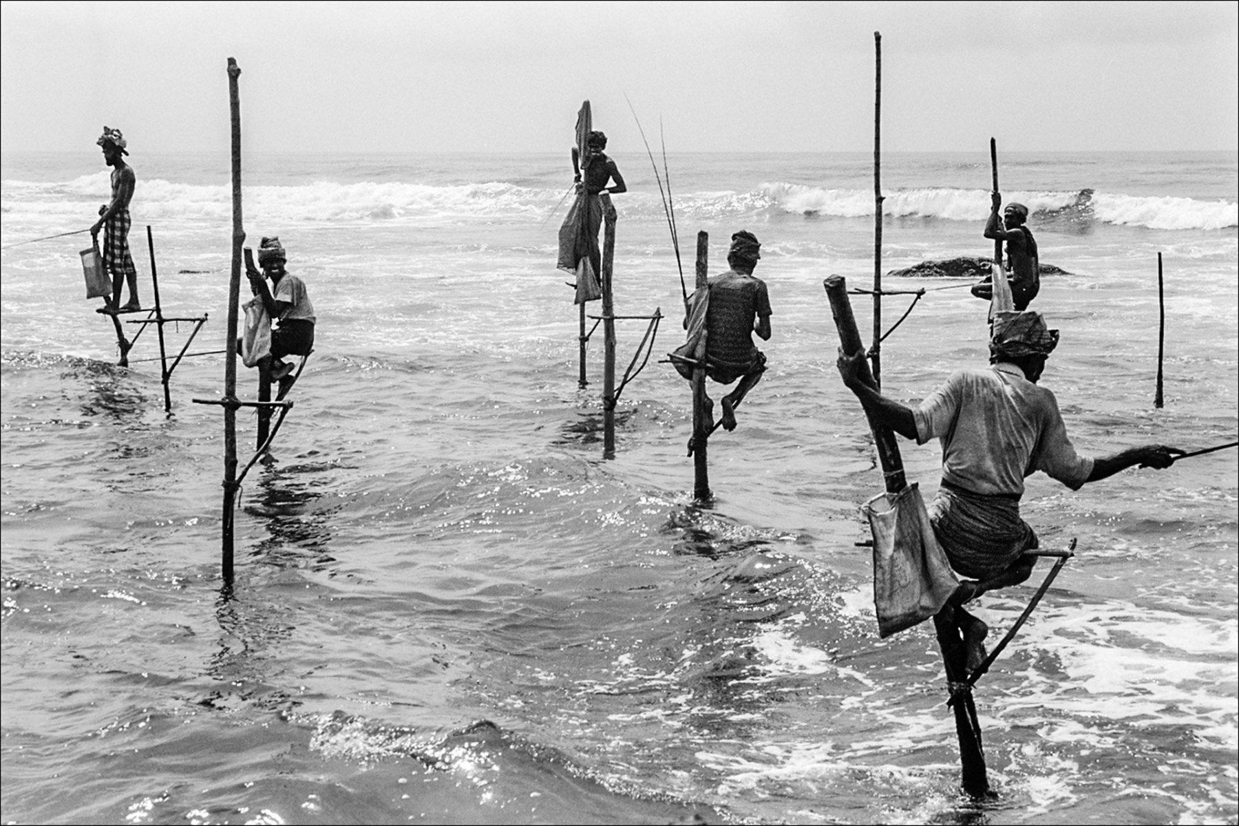 Black and white photo by Xavier Roy, stilt fishermen in Sri Lanka.