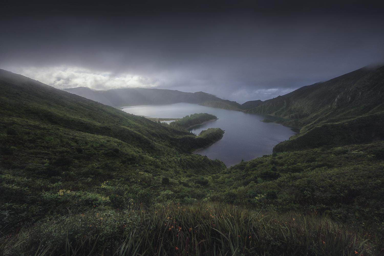 color landscape photograph of Lagoa do Fogo, Azores Islands