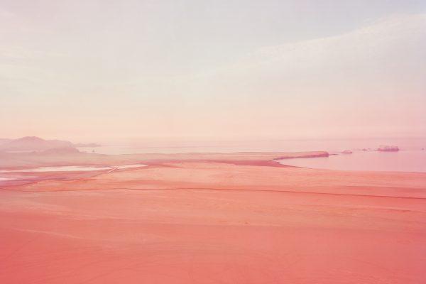 conceptual pink color landscape photographof Peruvian desert