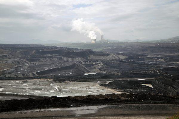 color landscape photograph of coal mines in Kozani region, Greece