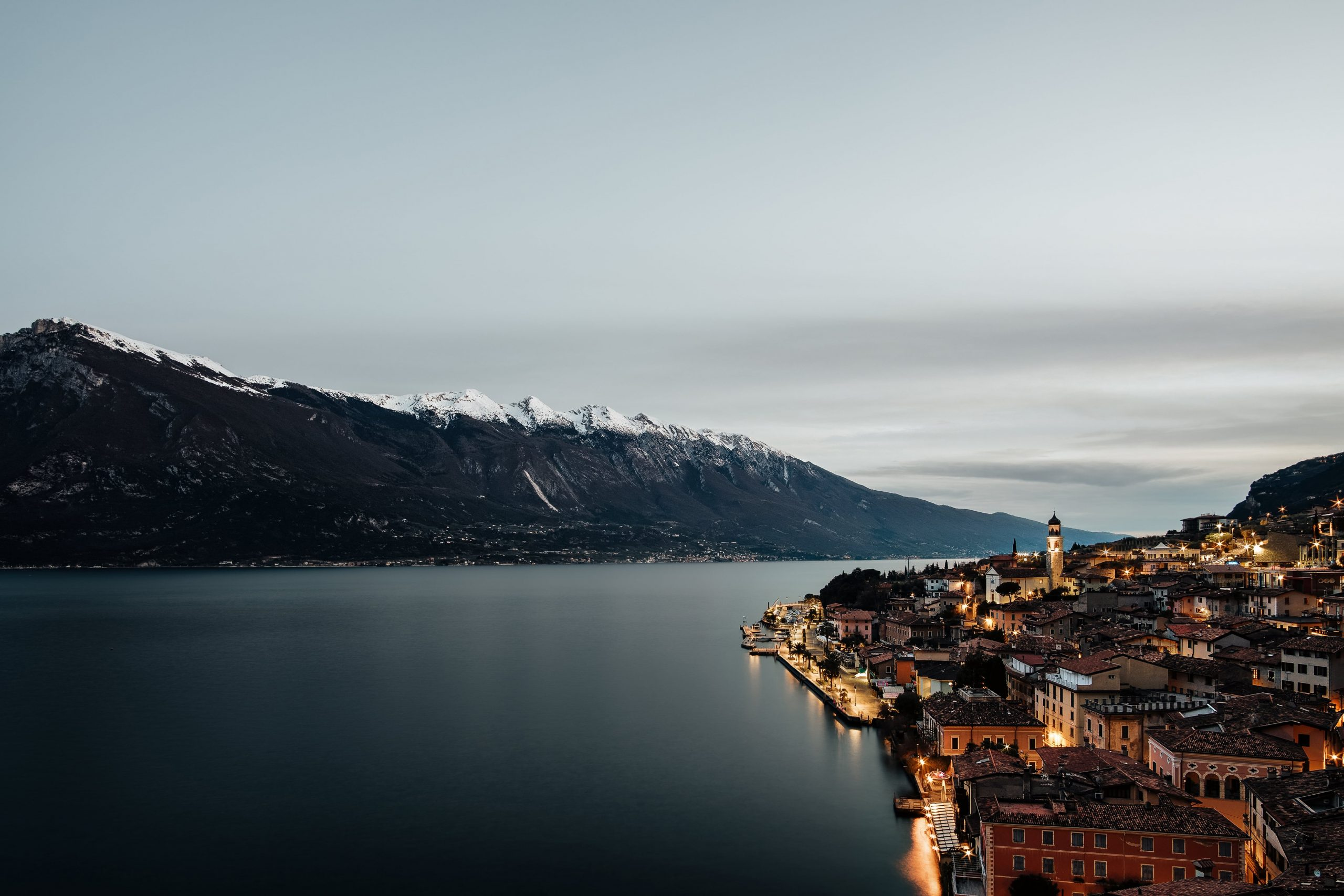 """color landscape photograph of Limone sul Garda in Winter"""", Lombardy, Italy"""