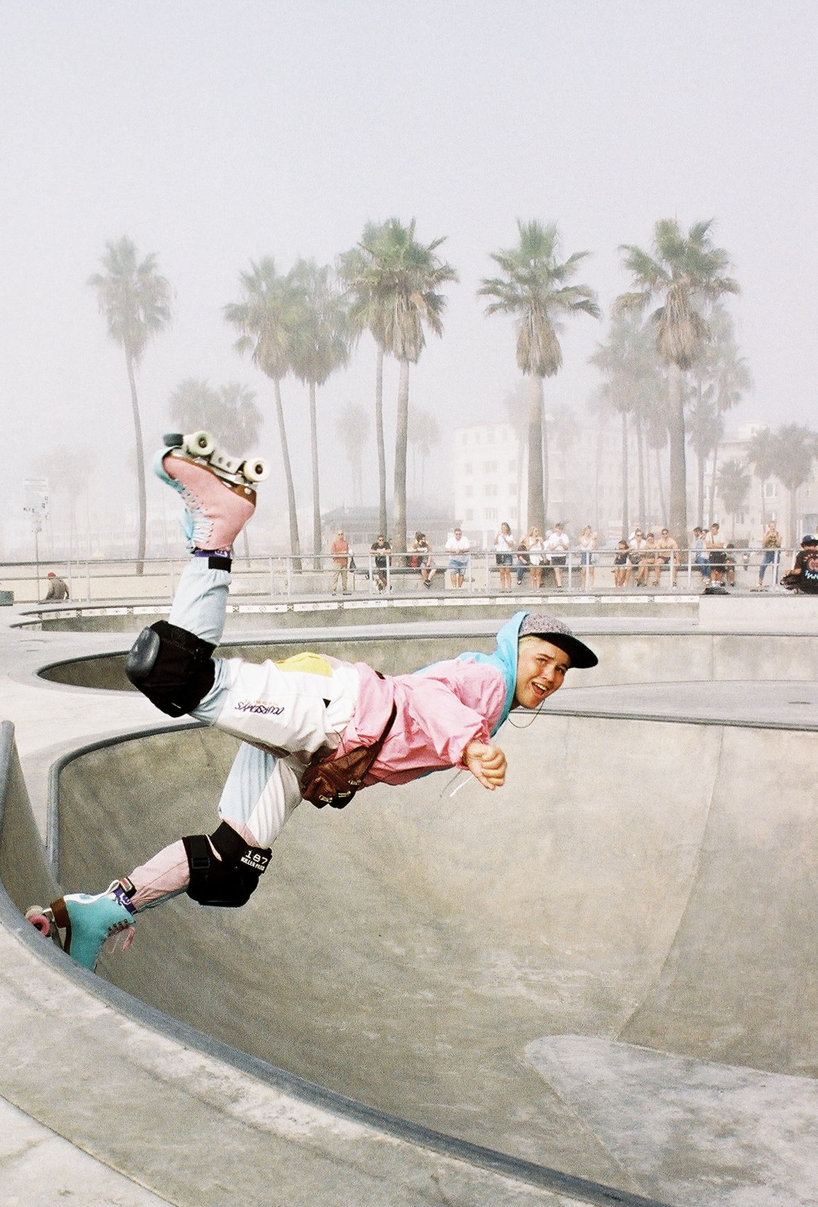 film color portrait photograph of a roller skater girl in venice beach, Los Angeles, California, USA by Morgan Simmons