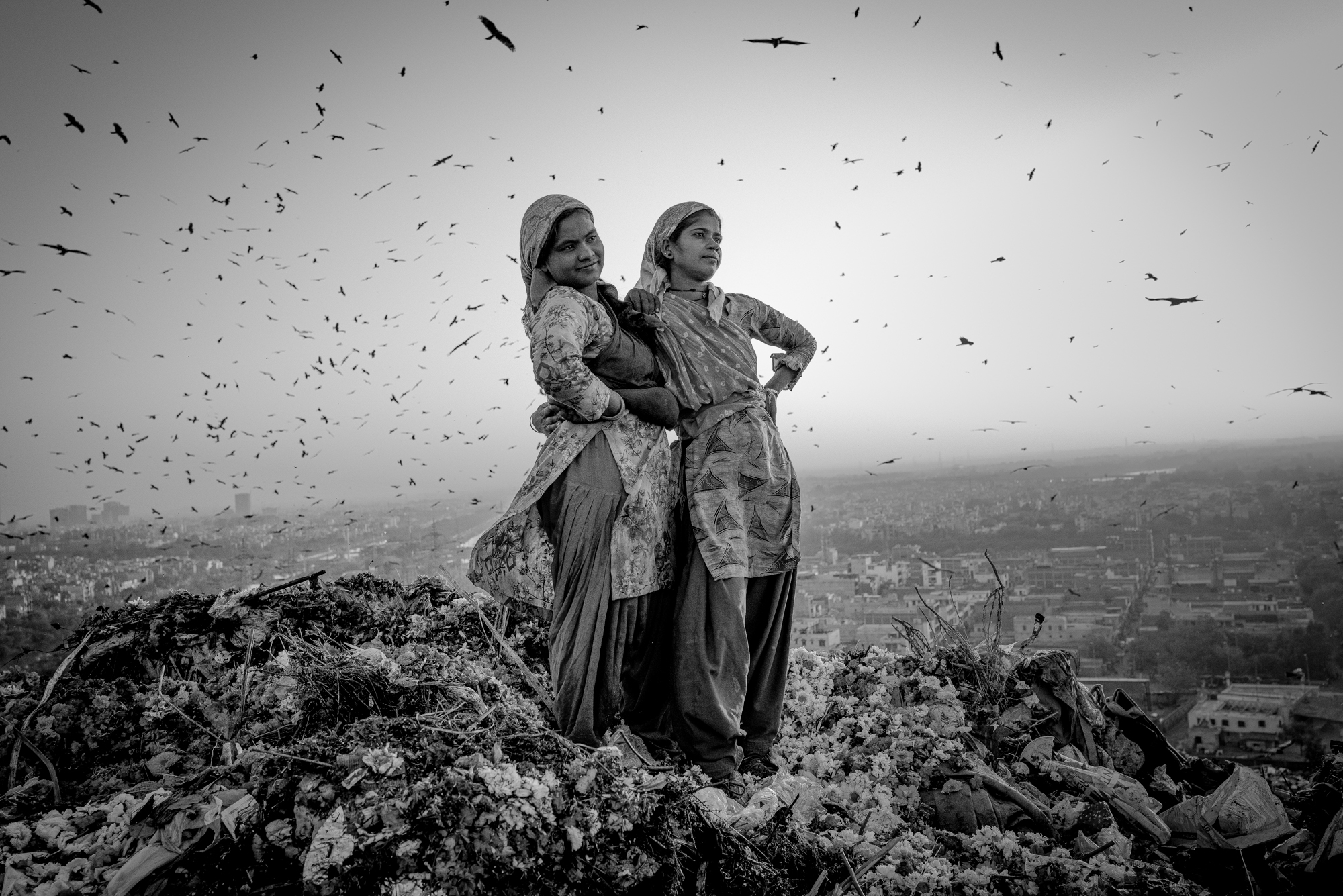 black&white photograph of to women in India by Robin Tutenges